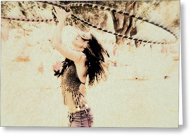 Kathy Bassett Greeting Cards - Hoop Dancer - FireHeart In Her Element Greeting Card by Kathy Bassett