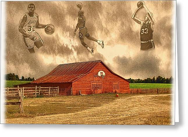 Rural Indiana Digital Art Greeting Cards - Hoop Dreams Greeting Card by Charles Ott