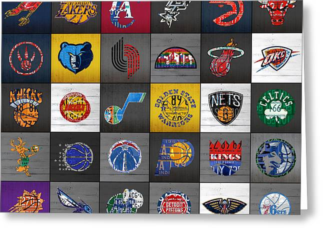 League Mixed Media Greeting Cards - Hoop It Up Recycled Vintage Basketball League Team Logos License Plate Art Greeting Card by Design Turnpike