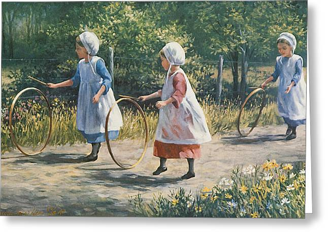 Three Children Paintings Greeting Cards - Hooping it up Greeting Card by Laurie Hein
