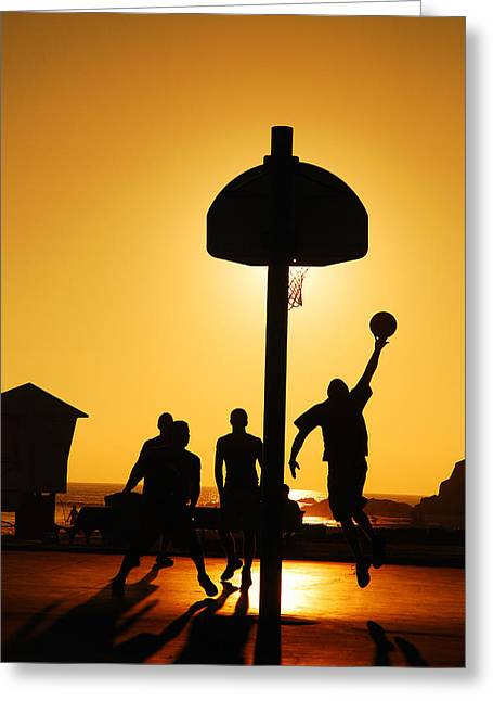 Basket Ball Game Greeting Cards - Hoops at Sunset Greeting Card by James Kirkikis