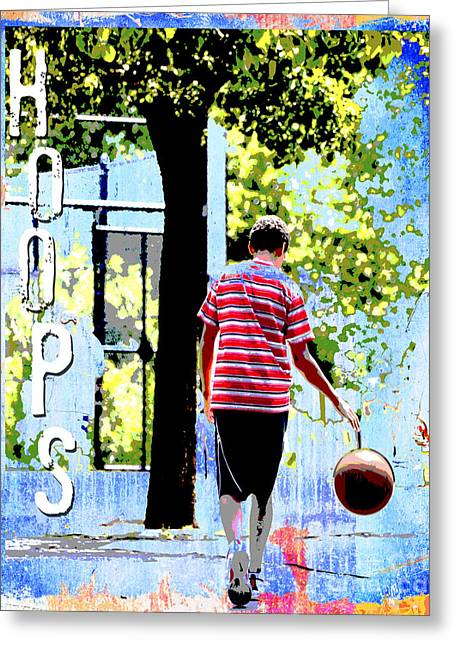 Skate Mixed Media Greeting Cards - HOOPS BASKETBALL Sports Art PRINT Greeting Card by ArtyZen Studios - ArtyZen Home