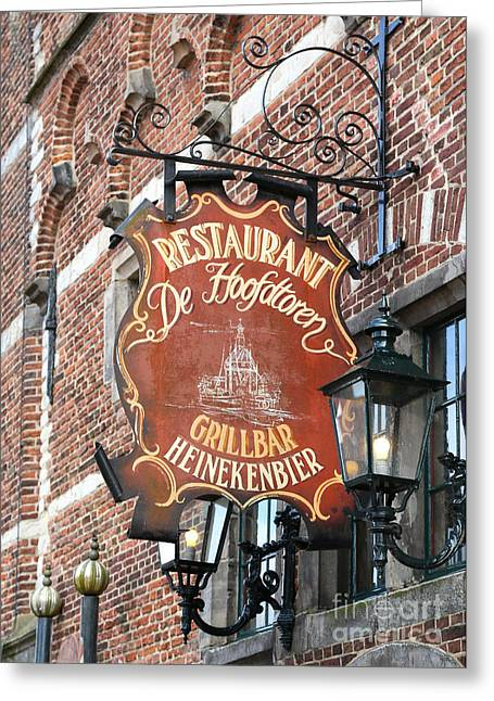 City Restaurants Greeting Cards - Hoorn Restaurant Sign Greeting Card by Carol Groenen