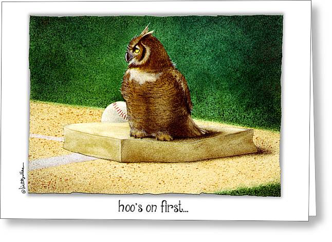 Baseball Paintings Greeting Cards - Hoos On First... Greeting Card by Will Bullas
