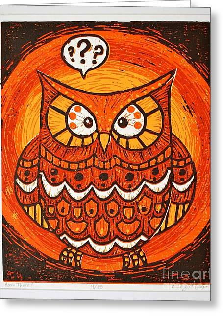 Printmaking Mixed Media Greeting Cards - Hoos There Greeting Card by Kimberly Wix