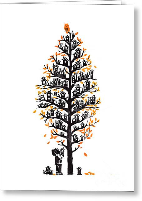 Fall Digital Art Greeting Cards - Hoot lodge Greeting Card by Budi Kwan