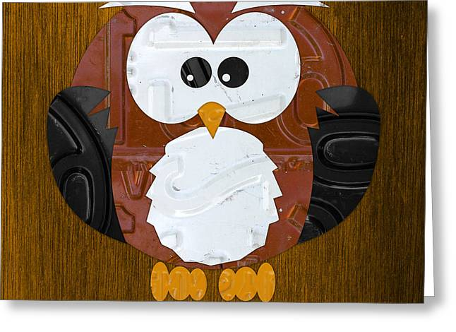 Road Trip Greeting Cards - Hoot the Owl License Plate Art Greeting Card by Design Turnpike