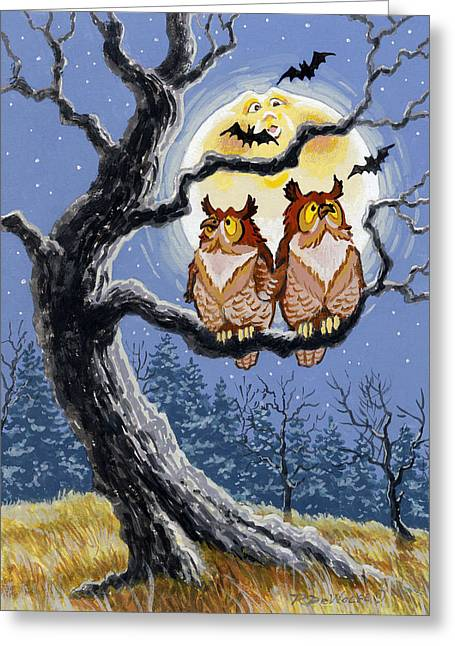 Tricks Greeting Cards - Hooty Whos There Greeting Card by Richard De Wolfe