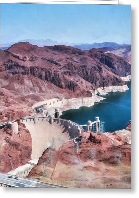 Hoover Dam Greeting Cards - Hoover Dam and Lake Mead Greeting Card by Lori Deiter