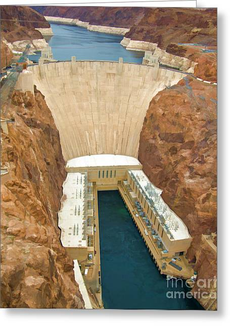 Dam Framed Prints Greeting Cards - Hoover Dam and Power Plant Greeting Card by L J Oakes