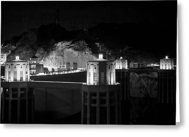 Las Vegas Greeting Cards - Hoover dam at night Greeting Card by Chris Bordeleau