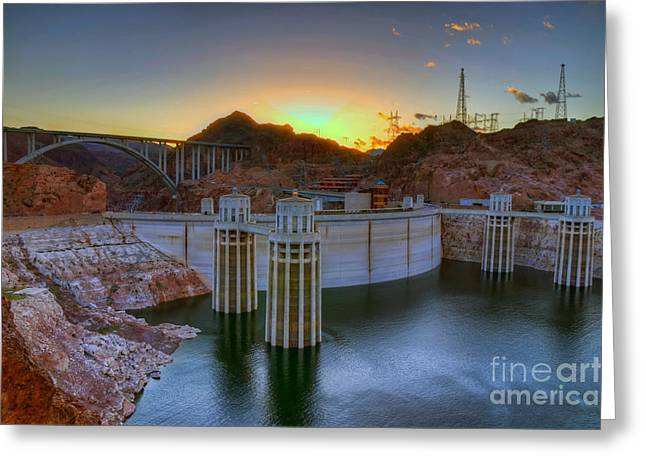 Hoover Greeting Cards - Hoover Dam at Sunset Greeting Card by Eddie Yerkish
