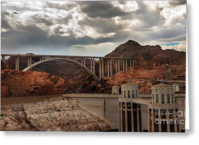 Hoover Dam Greeting Cards - Hoover Dam Bridge Greeting Card by Robert Bales