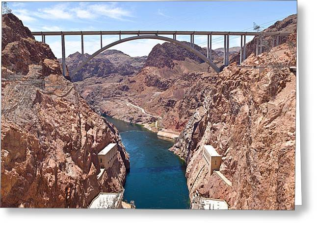 Hoover Greeting Cards - Hoover Dam Canyonland And Bridge Greeting Card by Panoramic Images