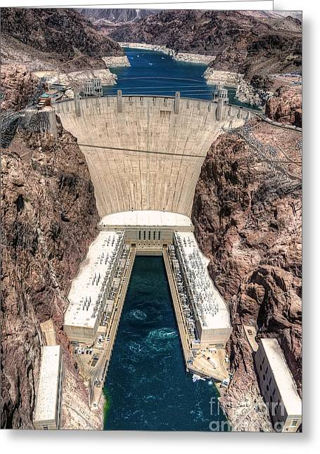 Hoover Dam Greeting Cards - Hoover Dam From Above Greeting Card by Eddie Yerkish