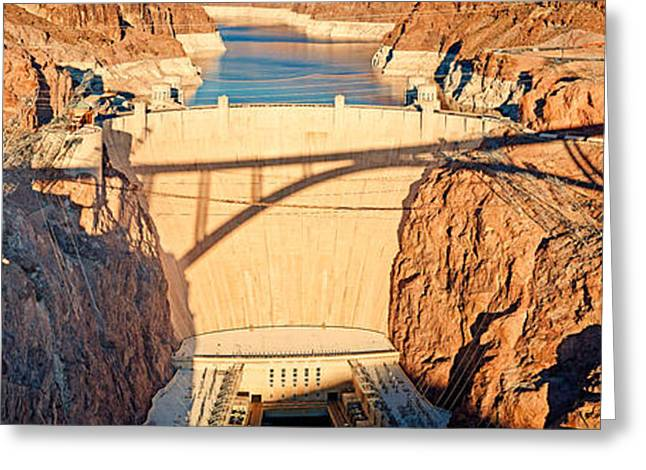 Hoover Dam From Bridge, Lake Mead Greeting Card by Panoramic Images