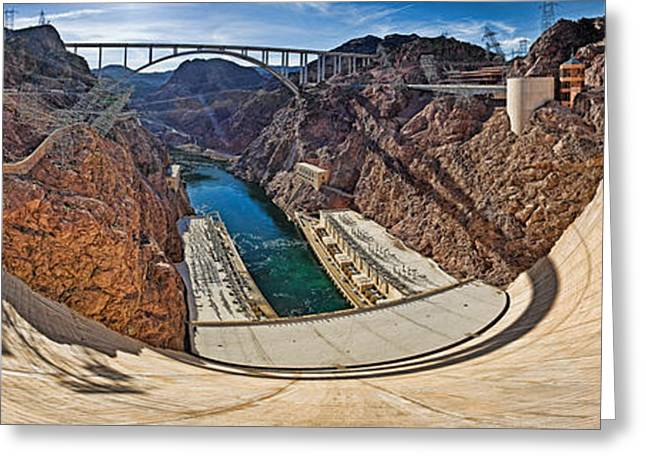 Border Photographs Greeting Cards - Hoover Dam, Lake Mead, Arizona-nevada Greeting Card by Panoramic Images
