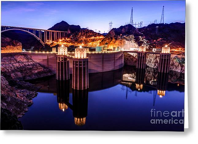 Hydroelectric Greeting Cards - Hoover Dam Sunset - Nevada Greeting Card by Gary Whitton