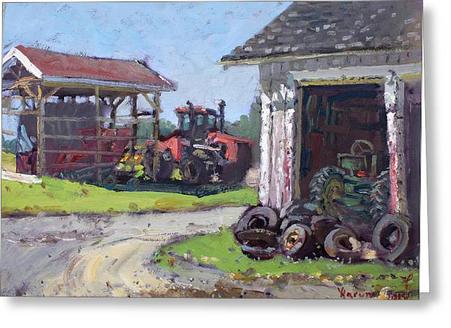 Tire Greeting Cards - Hoover Farm in Sanborn Greeting Card by Ylli Haruni