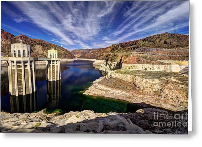 Hoover Dam Greeting Cards - Hoover Reservoir  Greeting Card by Rob Hawkins