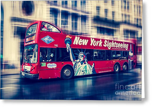 Hop On Hop Off Bus Greeting Cards - hop on hop off  through NYC Greeting Card by Hannes Cmarits