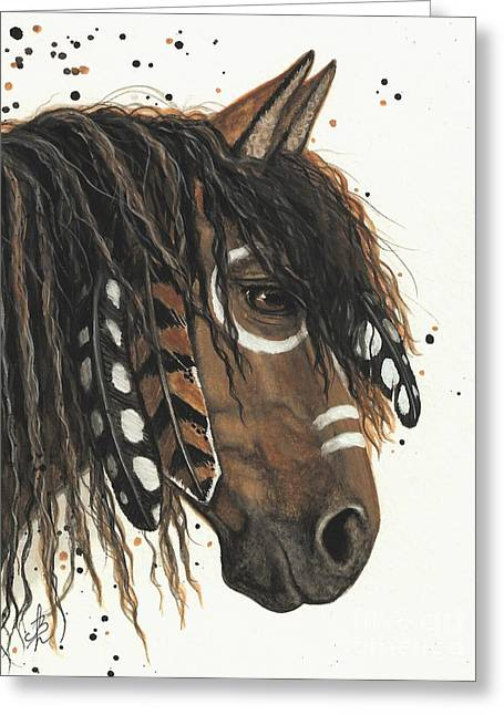 Tri Colored Greeting Cards - Hopa Majestic Mustang Series 47 Greeting Card by AmyLyn Bihrle