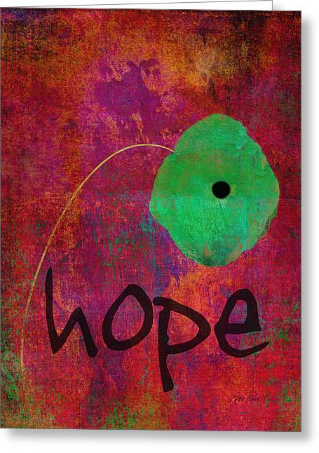 Whimsical Mixed Media Greeting Cards - Hope - Abstract Flower Art  Greeting Card by Ann Powell