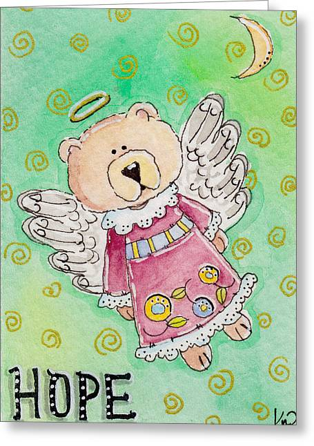 Artisan Made Greeting Cards - Hope - Angel Teddy Bear Greeting Card by K Nicole Rogalski