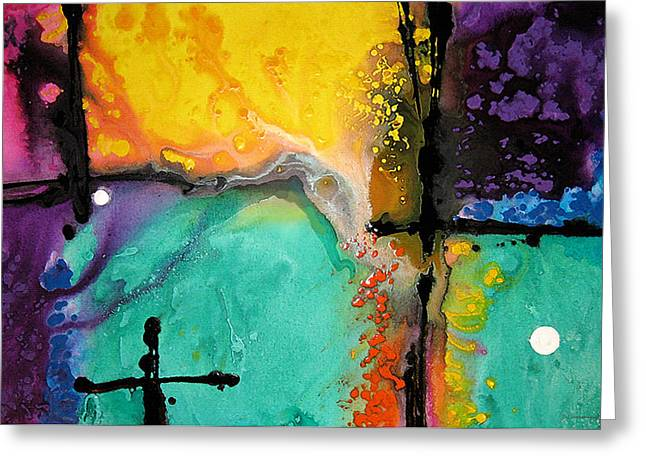 Decorating Mixed Media Greeting Cards - Hope - Colorful Abstract Art By Sharon Cummings Greeting Card by Sharon Cummings