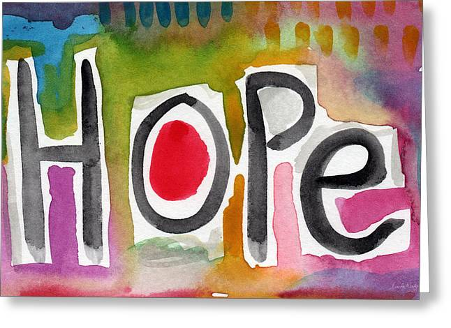 Kids Mixed Media Greeting Cards - Hope- colorful abstract painting Greeting Card by Linda Woods