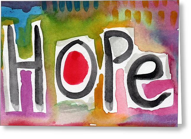 Hope- Colorful Abstract Painting Greeting Card by Linda Woods