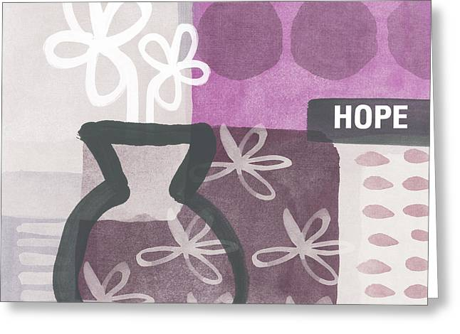 Wall Table Greeting Cards - Hope- Contemporary Art Greeting Card by Linda Woods
