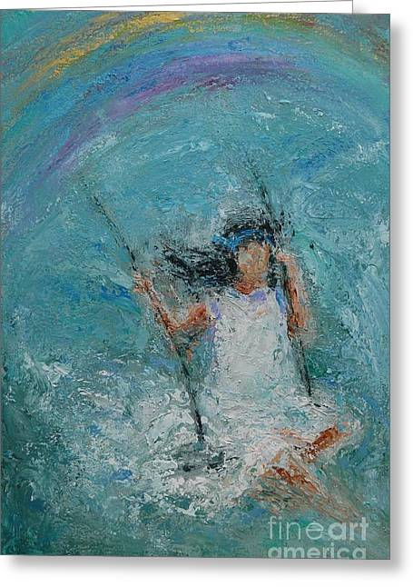Child Swinging Paintings Greeting Cards - Hope Greeting Card by Dan Campbell