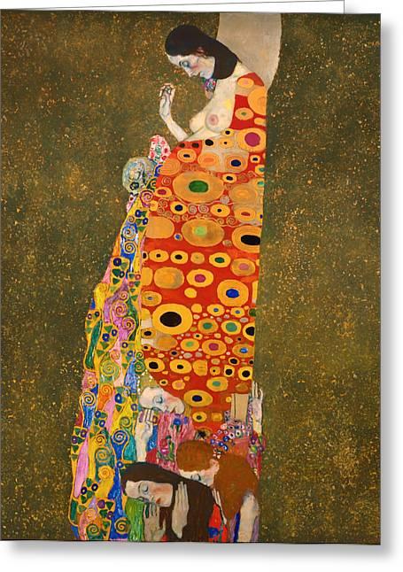 On Blanket Greeting Cards - Hope II Greeting Card by Gustave Klimt