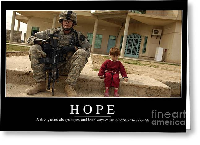 Iraq Posters Photographs Greeting Cards - Hope Inspirational Quote Greeting Card by Stocktrek Images