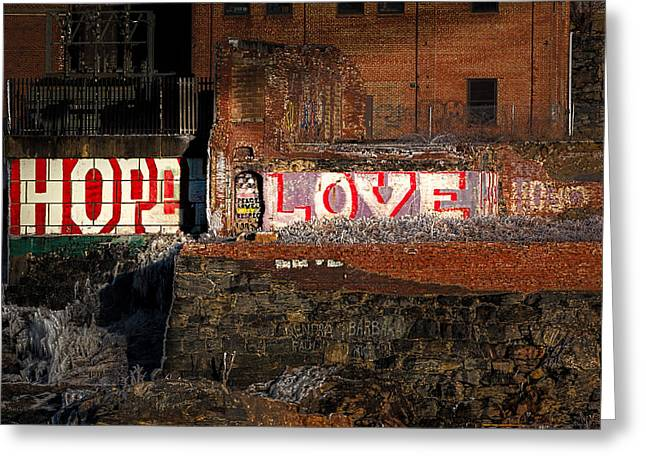 """great Falls"" Greeting Cards - Hope Love Lovelife Greeting Card by Bob Orsillo"
