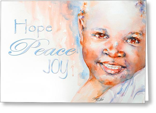 Watercolour Portrait Greeting Cards - Hope Peace Joy Greeting Card by Stephie Butler