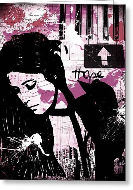 Red Buildings Mixed Media Greeting Cards - Hope Pink Greeting Card by Melissa Smith