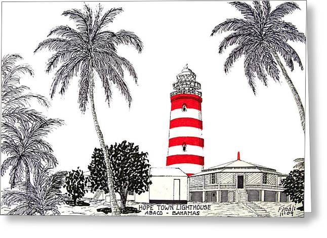 Historic Buildings Drawings Drawings Greeting Cards - Hope Town Lighthouse Drawing Greeting Card by Frederic Kohli