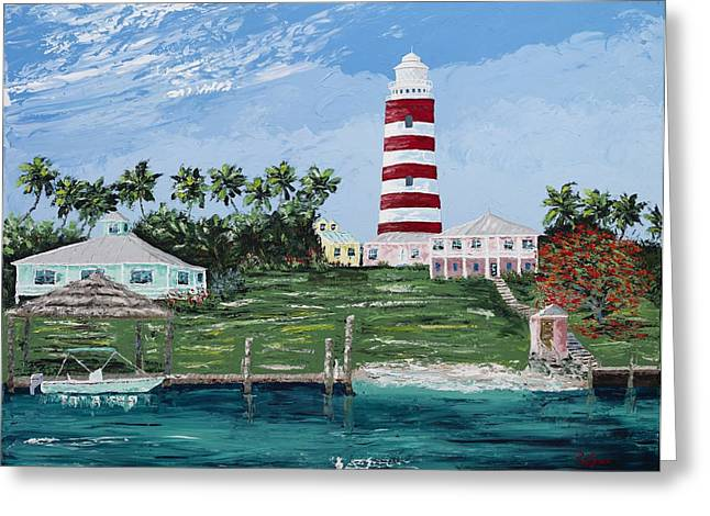 Caribbean Prints Tropical Town Print Greeting Cards - Hope Town Lighthouse Greeting Card by Paul Seaman