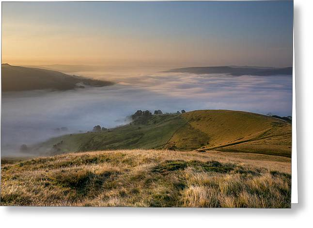 Temperature Inversion Greeting Cards - Hope Valley Autumn Mist Greeting Card by Steve Tucker