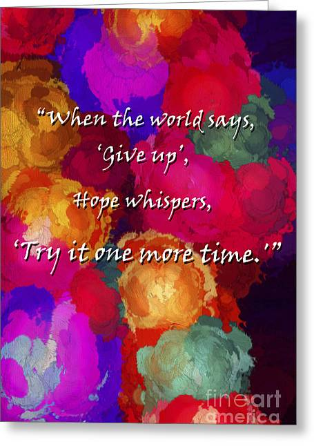 Diffusion Greeting Cards - Hope Whispers Greeting Card by Darren Fisher