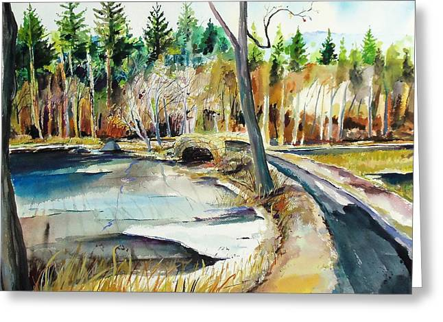 Scott Nelson And Son Paintings Greeting Cards - Hopedale January Thaw  Greeting Card by Scott Nelson