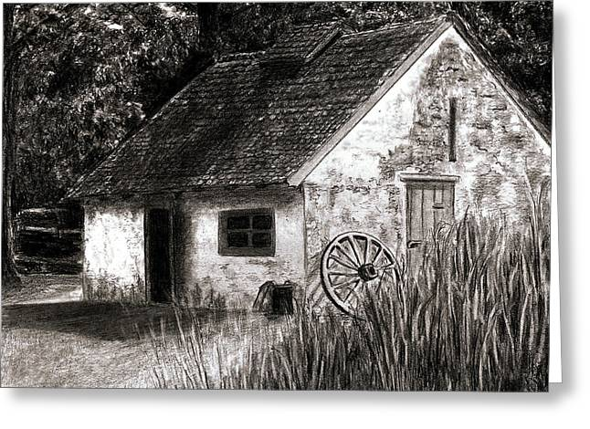 Old Cabins Drawings Greeting Cards - Hopewell House Greeting Card by BibZ Priori