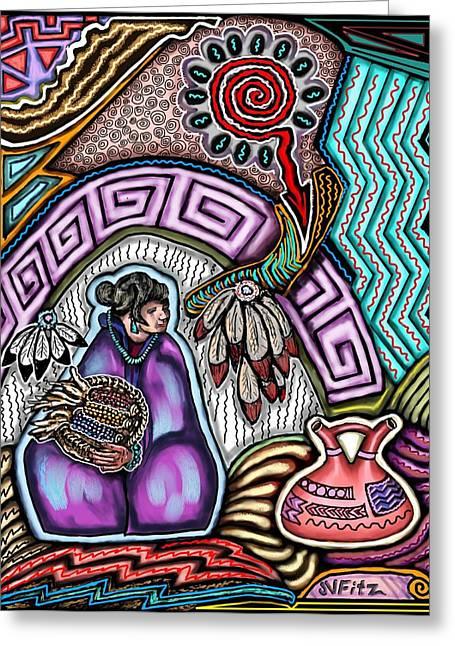 Hopi Drawings Greeting Cards - Hopi Corn Festival Greeting Card by John  Fitzgerald