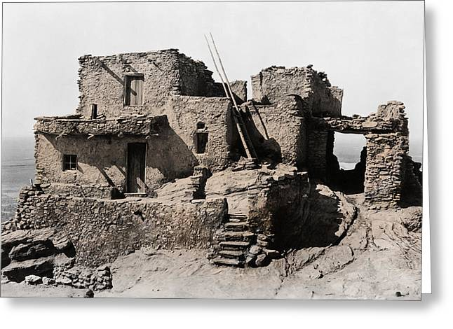 Hopi Greeting Cards - Hopi Hilltop Indian Dwelling 1920 Greeting Card by Daniel Hagerman