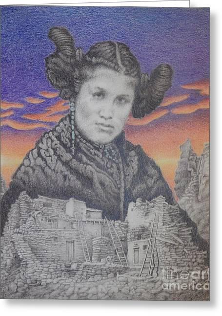 Hopi Drawings Greeting Cards - Hopi Maiden Greeting Card by Mark S  Lee