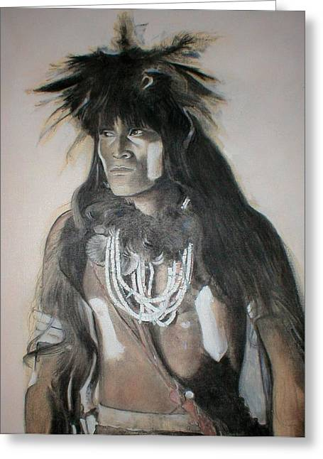 Native American Spirit Portrait Greeting Cards - Hopi Snake Priest Greeting Card by Terri Ana Stokes