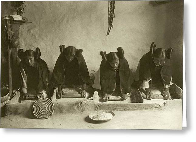 Hopi Women Grinding Grain Greeting Card by Library Of Congress