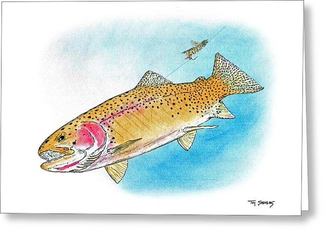 Flyfishing Pastels Greeting Cards - Hopper Dropper Greeting Card by Tim Shoales